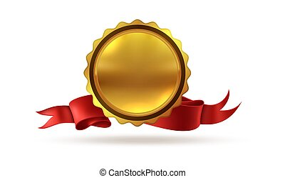 Gold medal. Victory award prize to first place with ribbons for hero or winner vector illustration