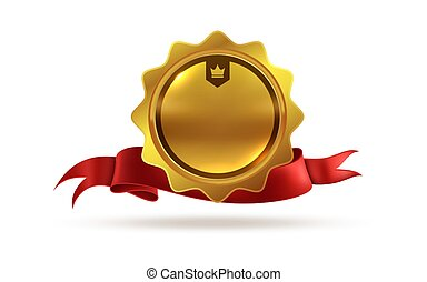 Gold medal. Victory orden or best winner trophy isolated vector template of award with red ribbon
