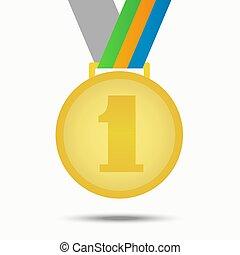 Gold medal winner. Illustration isolated on white background.