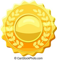Gold medal with laurels icon, cartoon style