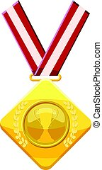 Gold medal with red ribbon icon, cartoon style