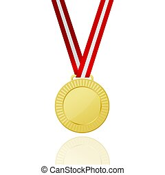 Gold Medal With Red Ribbon. Icon.