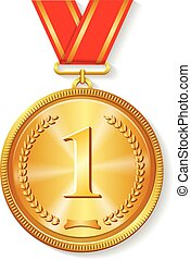 Gold medal with red ribbon isolated on white - Gold medal...