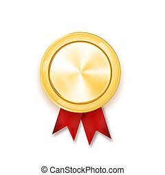 Gold medal with red ribbon. Metallic winner award. Vector illustration.