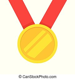 Gold medal with red ribbon vector icon, flat cartoon golden medallion award hanging isolated on white clipart
