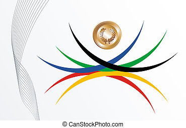 Gold medal with ribbons background