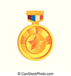 Gold medal with star vector Illustration on a white background
