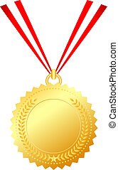 Gold medal with string, vector illustration