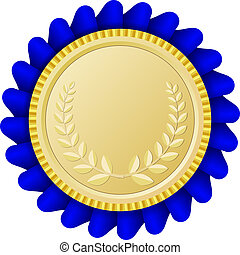 Gold medallion with blue ribbon