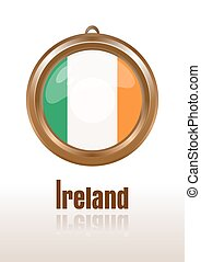 Gold medallion with the flag of Ireland