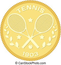 Gold medallion with the image of rackets and ball for tennis. Colored vector illustration of tennis. Stock vector illustration