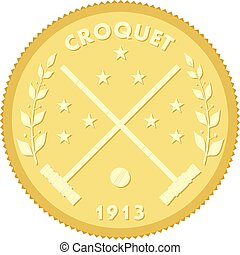 Gold medallion with the image of sticks and croquet ball. Colored vector illustration croquet
