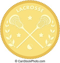 Gold medallion with the image of sticks and lacrosse ball. Colored vector illustration