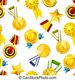 Gold medals, seamless pattern