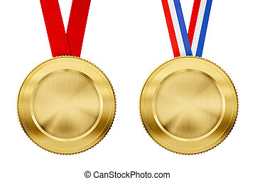 gold medals set with different ribbons isolated on white
