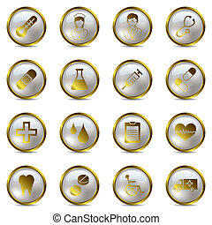 Gold medical icons set