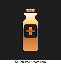 Gold Medicine bottle icon isolated on black background. Bottle pill sign. Pharmacy design. Long shadow style. Vector