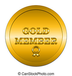 Gold member icon. Internet button on white background.