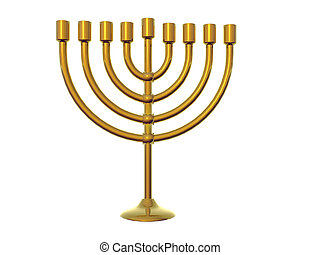 Gold Menorah - Isolated gold menorah