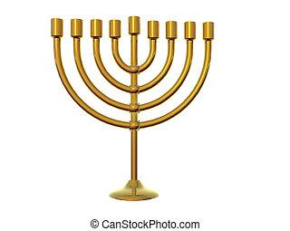 Isolated gold menorah