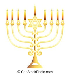 Gold menorah with candles