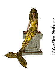 Gold Mermaid Sitting On A Pedestal - Gold mermaid sitting on...