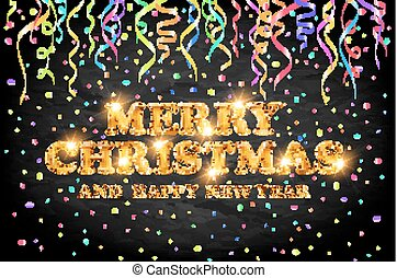 gold Merry Christmas and Happy New Year black background with decoration on color light confetti. Vector illustration. Xmas card.
