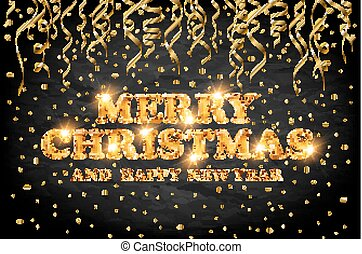 gold Merry Christmas and Happy New Year black background with decoration on golden light confetti. Vector illustration. Xmas card.