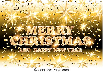 gold Merry Christmas and Happy New Year black shine background with decoration on golden light stars confetti. Vector illustration. Xmas card.