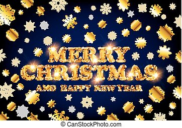 gold Merry Christmas and Happy New Year blue background with decoration on golden light snowflakes. Vector illustration. Xmas card.