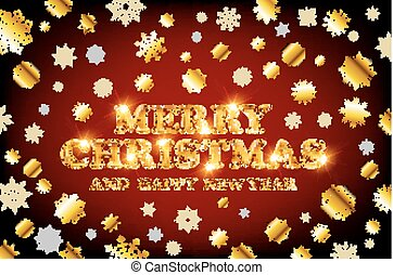 gold Merry Christmas and Happy New Year red background with decoration on golden light snowflakes. Vector illustration. Xmas card.
