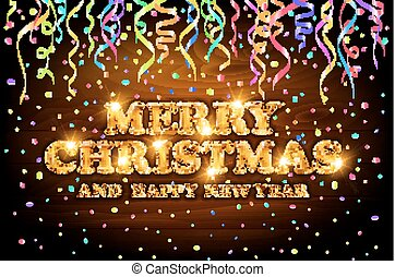 gold Merry Christmas and Happy New Year wood background with decoration on color light confetti. Vector illustration. Xmas card.