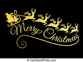 Gold Merry Christmas, golden Santa with his sleigh and reindeer, vector illustration