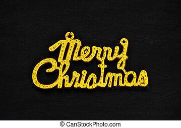 Gold Merry Christmas Text on Black Background