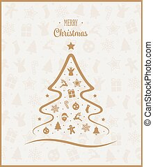 Gold Merry Christmas Tree Elements Card Background