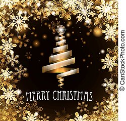 Gold Merry Christmas Tree Snowflakes Background