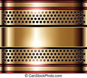 Gold metal background, shiny metallic golden plate.