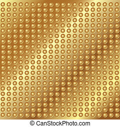 Gold metal background with rivets