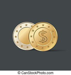 empty gold coins vector set realistic template illustration flip