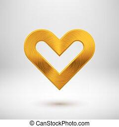 Gold Metal Heart Sign