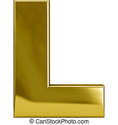 Gold metal L letter character isolated on white. Including clipping path. Part of complete alphabet set.