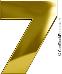 Gold metal number 7 character isolated on white. Including clipping path. Part of complete alphabet set.