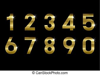 Gold metal number on black background vector illustration