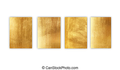 Gold metal plate isolated on white background