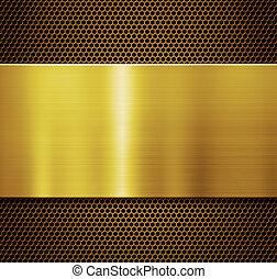Gold metal plate over comb grate background 3d illustration
