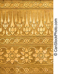 Gold Metal Plate with Thai Traditional Carving