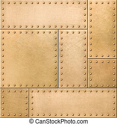 Gold metal plates with rivets seamless background