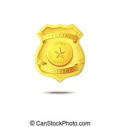 Gold metal police badge, realistic mockup isolated on white background