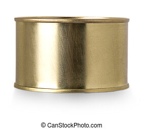 Gold metal tin can isolated on white background.