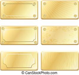 gold, metall, etiketten, -, vektor, nameplates